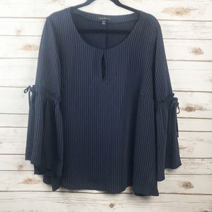 Lane Bryant Navy Pin Stripe Bell Sleeve Top 22/24